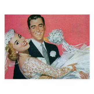 Économies vintages de mariage la date ! nouveaux cartes postales