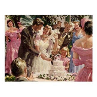 Économies vintages de nouveaux mariés de marié de carte postale
