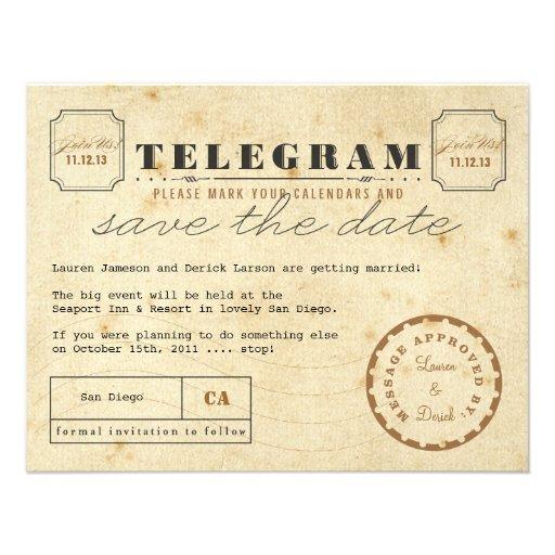 Économies vintages de télégramme la date faire-part