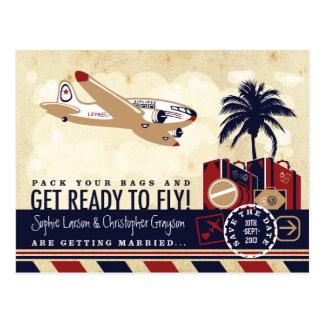 Économies vintages de voyage de ligne aérienne la carte postale
