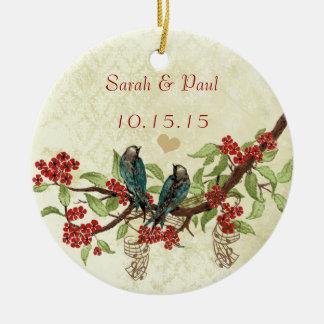 Économies vintages rouges d'oiseau les notes de ornement rond en céramique
