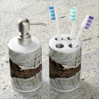 Écorce en bois accessoire de salle de bains