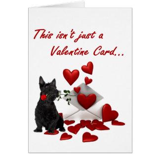 Écossais Terrier rose et coeurs Valentine Carte De Vœux