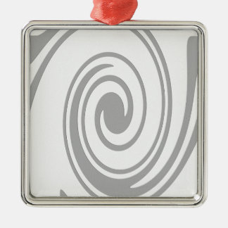 Écoulement en spirale gris de motif de gauche à ornement carré argenté