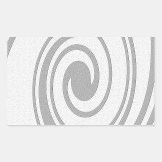 Écoulement en spirale gris de motif de gauche à sticker rectangulaire