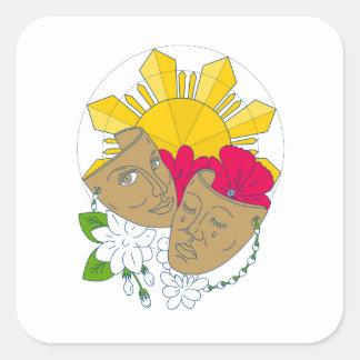 Écoulement philippin de Sampaguita de ketmie de Sticker Carré