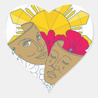 Écoulement philippin de Sampaguita de ketmie de Sticker Cœur