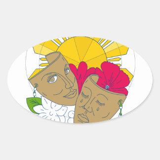 Écoulement philippin de Sampaguita de ketmie de Sticker Ovale