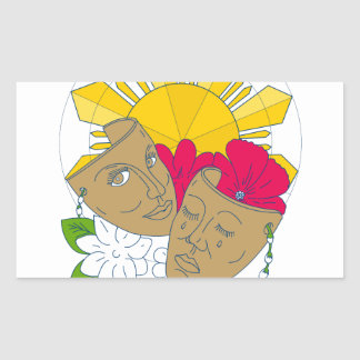 Écoulement philippin de Sampaguita de ketmie de Sticker Rectangulaire