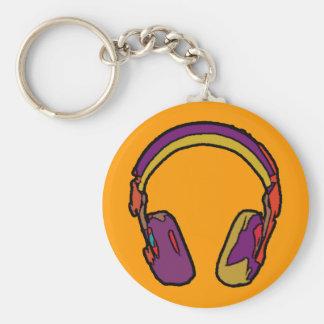 écouteur du DJ de couleur Porte-clé Rond