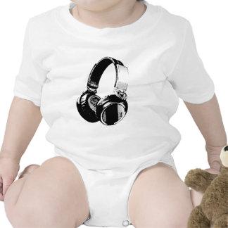Écouteur noir et blanc d art de bruit barboteuses