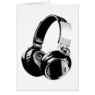 Écouteur noir et blanc d'art de bruit carte de vœux