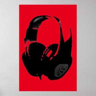 Écouteur rouge noir d'art de bruit affiches