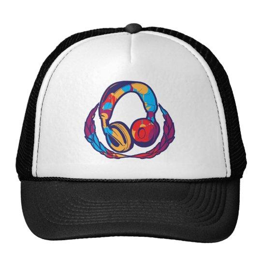 Écouteurs colorés casquette trucker