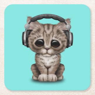 Écouteurs de port de chaton mignon dessous-de-verre carré en papier