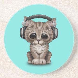 Écouteurs de port de chaton mignon dessous de verres