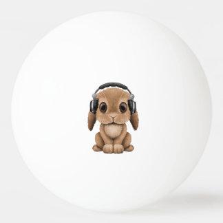 Écouteurs de port de lapin mignon de bébé balle tennis de table