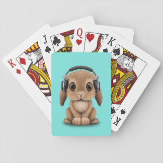 Écouteurs de port de lapin mignon de bébé cartes à jouer