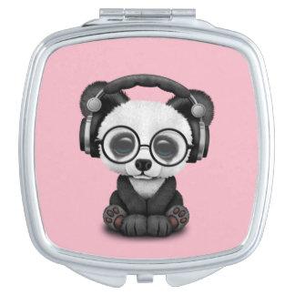 Écouteurs de port de panda mignon de bébé miroir compact