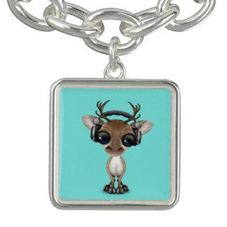 Écouteurs de port de renne mignon de bébé bracelet avec breloques