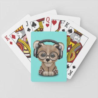 Écouteurs de port d'ours mignon de bébé jeu de cartes