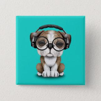 Écouteurs de port du DJ de chiot mignon de Badges