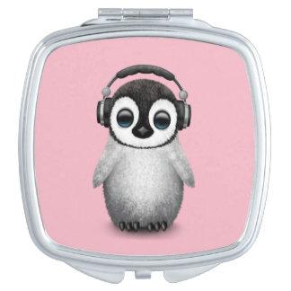 Écouteurs de port du DJ de pingouin mignon de bébé Miroirs De Maquillage