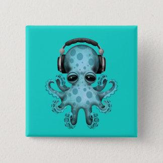 Écouteurs de port du DJ de poulpe de bébé bleu Badge