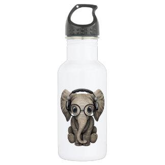 Écouteurs de port du DJ d'éléphant mignon de bébé Bouteille D'eau En Acier Inoxydable