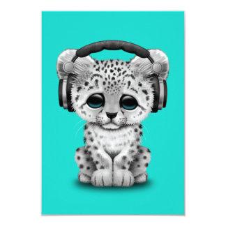 Écouteurs de port mignons de CUB de léopard de Carton D'invitation 8,89 Cm X 12,70 Cm