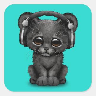 Écouteurs de port mignons de CUB de panthère noire Sticker Carré