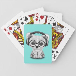 Écouteurs de port mignons d'ours blanc de bébé jeux de cartes