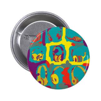 écouteurs du DJ d'art de bruit de couleur Pin's