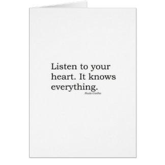 """""""Écoutez votre coeur. Il sait tout"""" Coelho Cartes"""