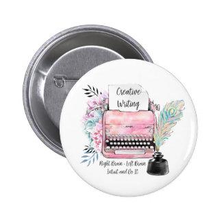 Écriture créative de machine à écrire rose vintage pin's