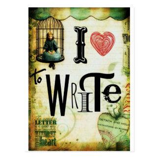 Écriture d'amour carte postale
