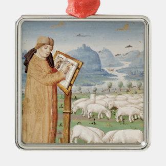 Écriture de Virgil dans un domaine des moutons et Ornement Carré Argenté