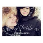 Écriture mignonne et photo de Joyeux Noël Carte Postale