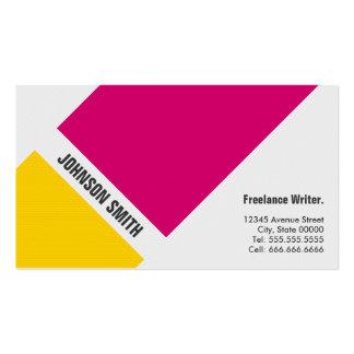 Écrivain indépendant - jaune rose simple modèles de cartes de visite
