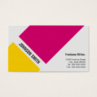 Écrivain indépendant - jaune rose simple cartes de visite