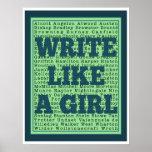Écrivez comme une copie de paon de fille poster