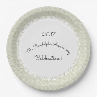 Ecru-Dentelle d'Anniversary-Celebration_Template Assiettes En Papier