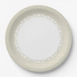 Ecru-Stylish-Fabric-Pattern_Lace_Everyday-_M-L Assiettes En Papier