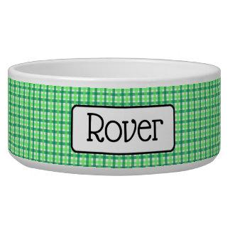 Écuelle Cuvette Checkered verte personnalisée de chien