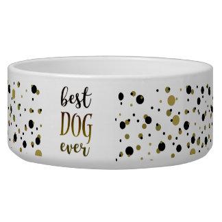Écuelle Le meilleur noir toujours d'or de chien pointille