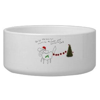 Écuelle marguerite la cuvette de chien de Noël de tzu de