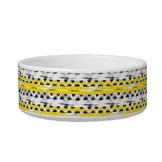 Écuelle Motif tribal de rayures jaunes blanches noires