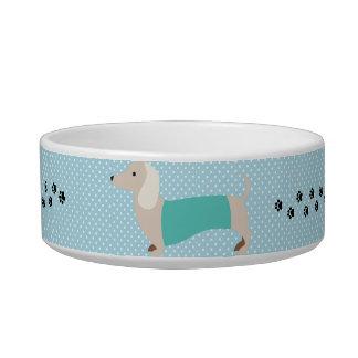 Écuelle Plat bleu de chien de saucisse de point de polka