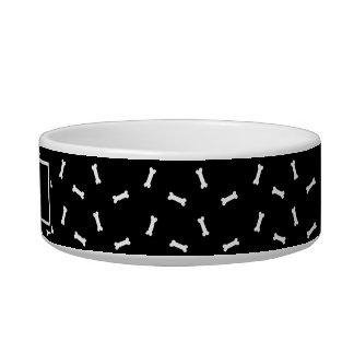 Écuelle Plat personnalisé noir et blanc de chien d'os de