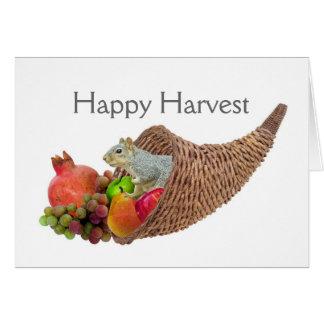 Écureuil dans la carte de récolte de corne
